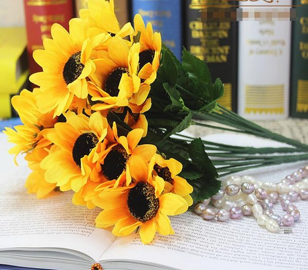 7 artificial sunflower bouquets artificial flowers plastic flowers sunflower dance props hand flowers 6 bundles of shipping