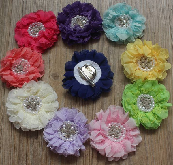 30pcs 8cm Chiffon Multilayer Lace Fabric Clip Flower For Girls Hair Accessories,Lined Alligator Hair Clip Flowers for Kids