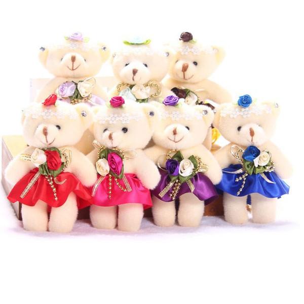 Venta al por mayor Baby Girl juguetes de peluche flor Ramos de flores con cuentas oso de peluche Mini diseño suave de la boda decoración del hogar juguetes del oso