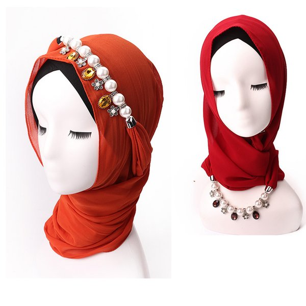 Pearl Chiffon Scarf Hat Muslim Baotou Hats Alloy Pendant Jewelry Necklace Scarf scarf pendants heart jewelry Factory Cost Cheap wholesale
