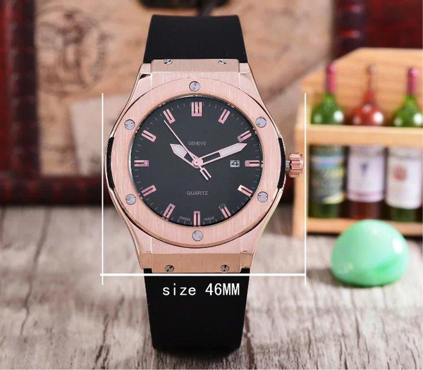 Man quartz wristwatches top brand aaa quality rose gold original case rubber band business man day date watch best gift for man