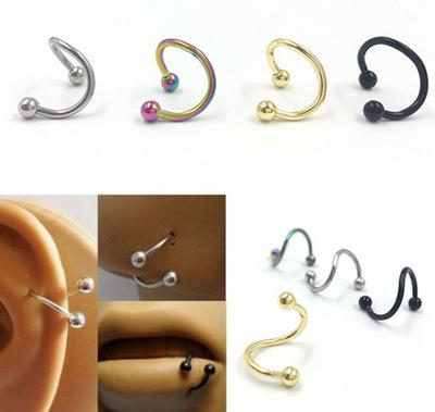 Nose ring body art piercing jewelry fashion jewelry type 316 l stainless steel S nose nose ring 100 PCS KKA2071