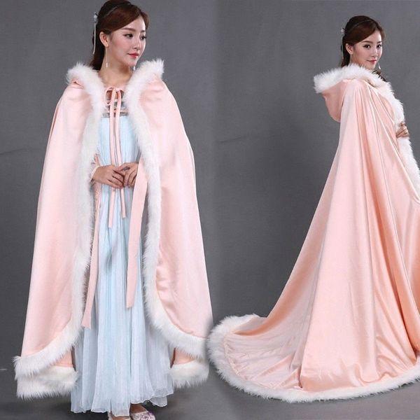 Winter Bridal lacing Cape Faux Fur Christmas Cloaks Jackets For Wedding Bridal Wraps For Wedding Dresses Sweep Train Bridal Jackets
