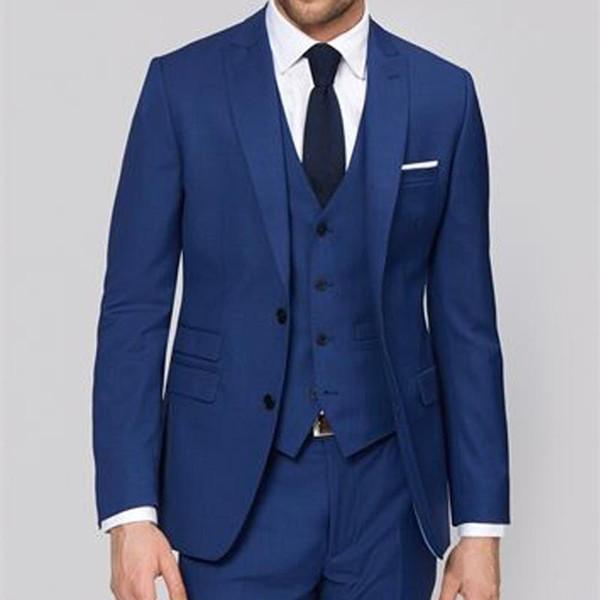 Custom Made Royal Blue Men Business Party Suits Groom Wear Peaked Lapel Three Piece Wedding Suits Cheap Groomsmen Tuxedo (Jacket+Pants+Vest)