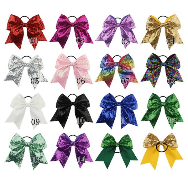 8 polegadas Sólido Fita Elogio da curva por meninas miúdos Boutique Grande Cabelo Cheerleading Bow Crianças lantejoulas Acessórios de cabelo