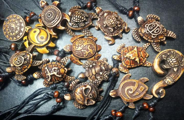FREE SHIPPING 14 pcs fashion MIXED Wholesale Lots Imitation Yak Bone Carved Lucky Surfing Sea Turtles Pendants Necklace