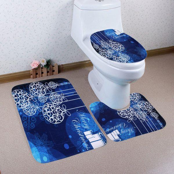 Cilected 3Pcs/Set Bathroom Mat Set Embossing Flannel Toilet Rug Blue Christmas Ball Print Bath Mat For Chrism'S Decoration