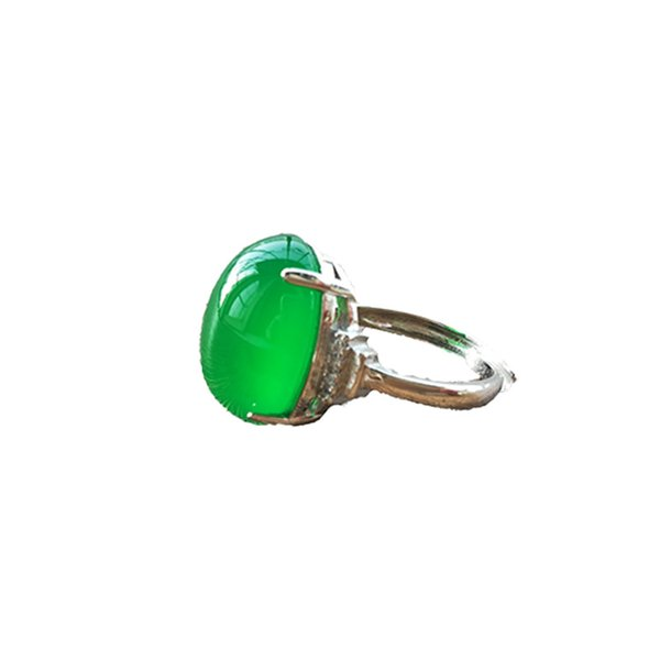 S925 silver pure natural ice green chalcedony ring female jadeite crystal gem agate opening ring