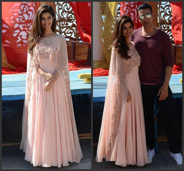 Blush Pink Indian Arabic Kaftan Women Evening Dresses with wrap 2018 Sheer Beaded Cape Saresuit Custom Make Formal Occasion Prom Party Gown