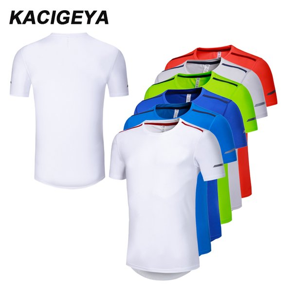 Men Short Sleeve Running T Shirt Compression Soccer Jerseys Brearthable Quick Dry Jogging Sportwears Large Size Summer Shirts