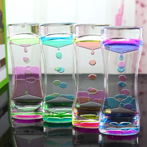 Floating Double Color Symphony Slim Liquid Oil Leakage Dynamic Timing Acrylic Hourglass Timer Clock Ornament Desk 4 Colors