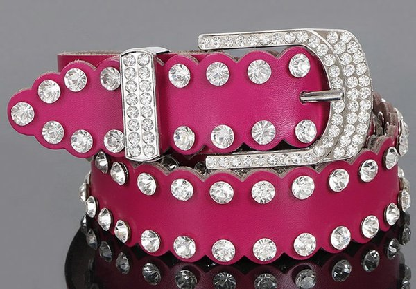 2018 Nuove cinghie di cristallo Designer di lusso Cintura di lusso Cinturino in diamanti Cintura di jeans in vera pelle Cintura di cintura Cinturini per signora