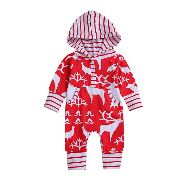 efd6326ebabd Christmas Baby Boys Girls Romper Autumn Cartoon Deer Hooded Toddler Long Sleeve  Jumpsuit Fashion Infant elk Stripe Onesie 2Colors