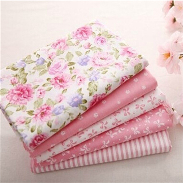Hot 40*50CM 5PCS Sweet Pink Printed Cotton Fabric DIY Patchwork Sewing Baby Toy Material Quilting Bedding