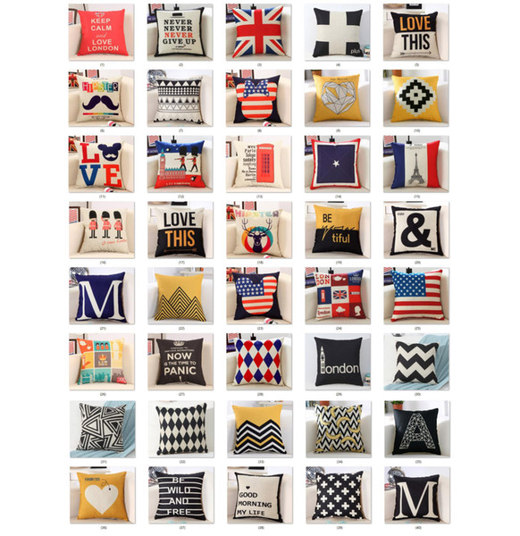 best selling 40 styles Pillowcase linen material cushion cover decorative pillow case sofa seat car pillow cover soft