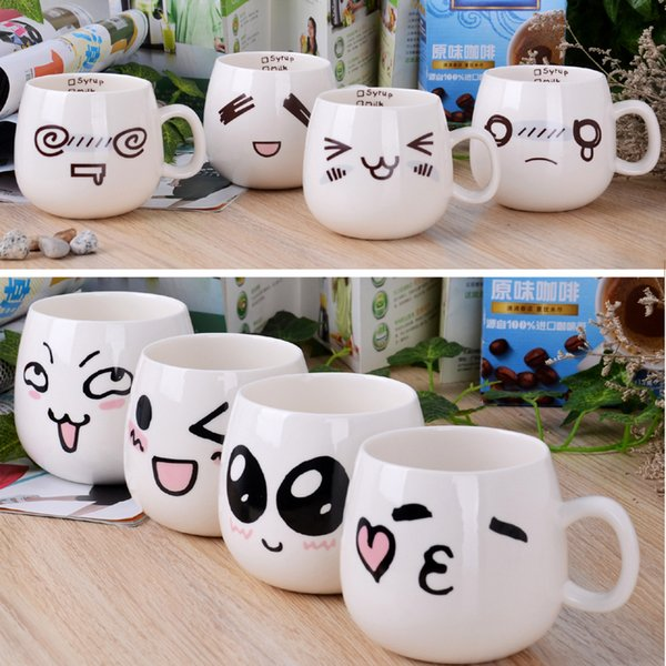 Милый мультфильм кружки улыбка выражение лица керамическая чашка контейнер для воды горячая распродажа кофе чашки для воды оптом