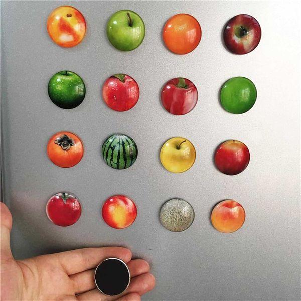 1pcs Colorful Cute Fruit Patterns Dome Glass Fridge Magnets Sticker Apple Orange Glass Cabochon Notes Message Holder Sticker