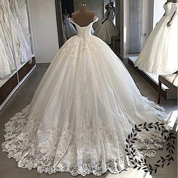 Abiti da sposa lunghi pizzo cappella treno lungo cappella treno 2018 appliques perline spalle corsetto indietro bianco abito da sposa per le donne