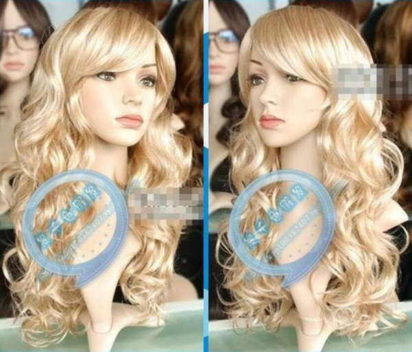 New Wig Mix Blonde Wig Long Curly Hair Wig Oblique Bangs