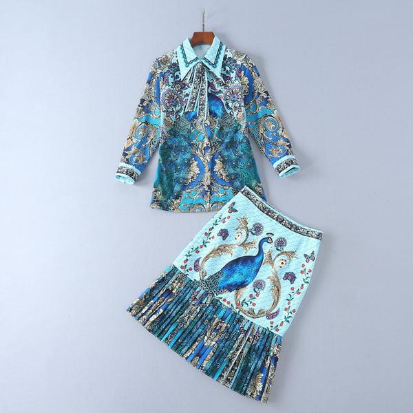 Avrupa kadın giyim 2018 yeni bahar Uzun kollu yaka tavuskuşu baskılı gömlek + Fishtail etek suit