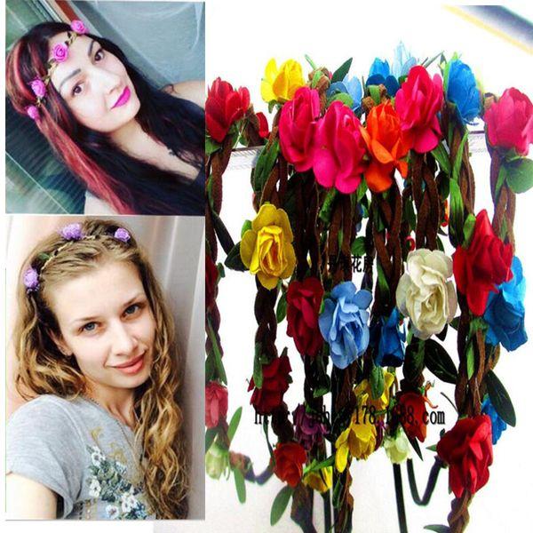 Girls Fashion Flowers Headbands Perfect Quality Wreath Hair Accessories for Women Floral Hair band Fine Garland Headwear 009