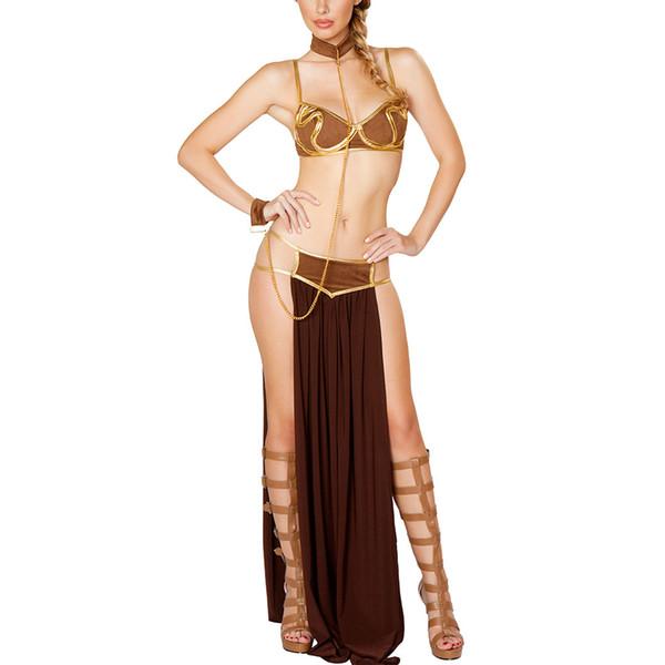 2017 Sexy New Fashion Karneval Frauen Cosplay Partei Halloween Kostüme Sexy Prinzessin Leia Slave Kostüm Bh + rock Schwarz