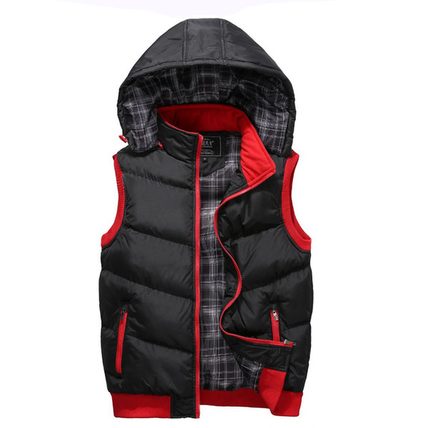 2018 Vest Men Winter Jackets Casual Thick Vests Man Sleeveless Hoodie Coats Male Plus Size Warm Cotton-Padded Waistcoat