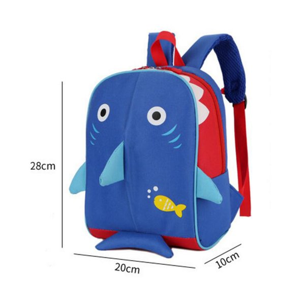 Fashional cartoon Animal stampato 3D Shark School Bag bambini rosa Coniglio Zaino bambini Bambini adorabile cucciolo tela Spalle borsa 60pcs