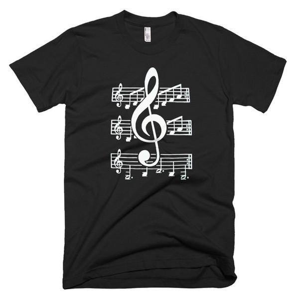 Notes de musique pour hommes nouveaux T Shirt shirt en coton noir à manches courtes Music Printed Tee Nouveau mode coton occasionnels à court - manches