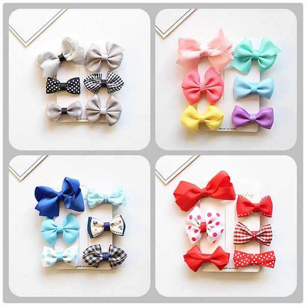 MIXIU 6pcs/set MIX Styles Lovely Bowknot Elastic Hair Bands + Hair Bow Clip Hairpin For Kids Girls Headwear Accessories