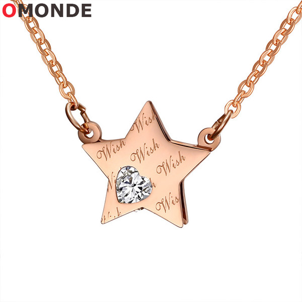 OMONDE Korea Women Rose Gold Color Star Pendant Necklace Cubic Zircon Heart Stone Stainless Steel Link Chains Neck Lace for Female Jewelry
