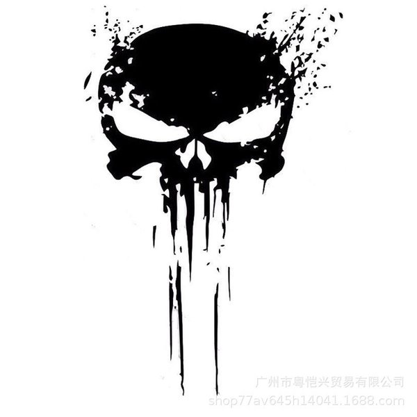 10*15CM InterestingP UNISHER Skull BLOOD Punisher Decoration Skull Black/Silver Graphic Car Sticker Vinyl fashion hot
