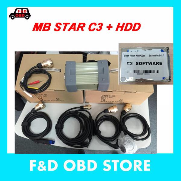 Хорошее качество MB Star C3 SD Connect MB C3 поддерживает 12V автомобили с HDD Авто Диагностический сканер