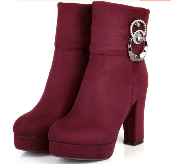 Invio gratuito Short boots autunno e inverno 2017 tacchi alti stivali da tavola donna impermeabile tallone