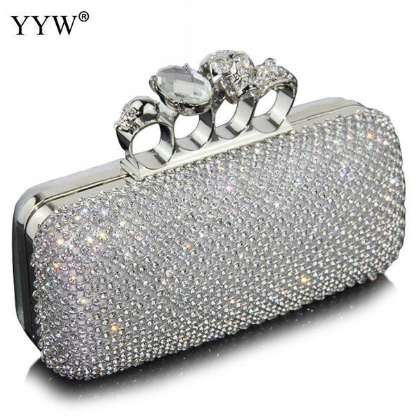 Bolsos de embrague de diamantes para las mujeres 2018 bolso de noche de plata con diamantes de imitación bolsos de lujo bolsos del partido de las mujeres Diseñador monedero de plata