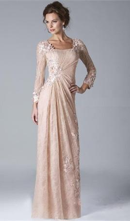 Vintage Champagne Lace Mother of the Bride Groom Applique Floor Length Long Sleeve Sheath Wedding Guest Gowns Party Dress Mother Gowns M025