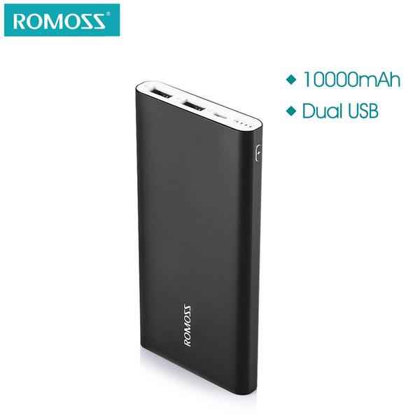 ROMOSS RT10 10000mAh Banco de potencia Ultra Slim Dual USB Salida 2.1A Carga rápida de aluminio Cargador de batería externo Teléfono Powerbank