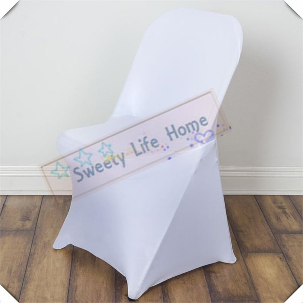 White Folding spandex covers Free shipping Fold Chair Covers Strech Banquet Chair seats For Outdoor Chairs party