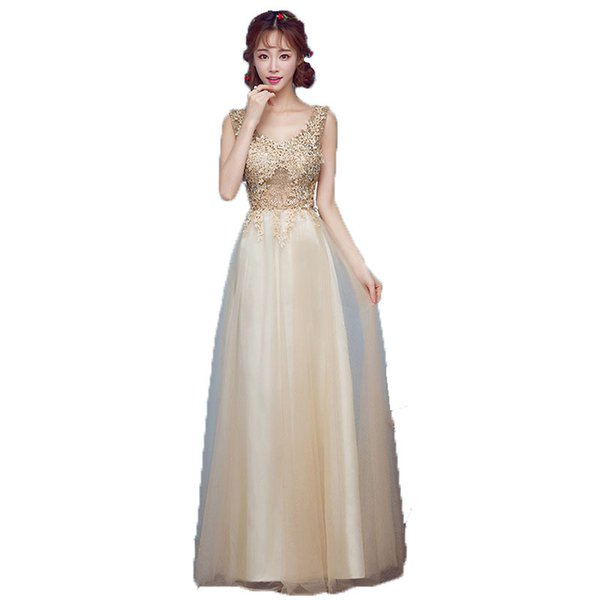 Champagne Gold Backless Long Evening Prom Dresses Lace Appliques Scoop Neck Sexy Sheer Cap Sleeves Girls Party Formal Dress