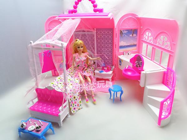 Baby Girl Birthday Gift Pack Vendita calda Moda Mini plastica rosa dolce fai da te casa delle bambole Mobili