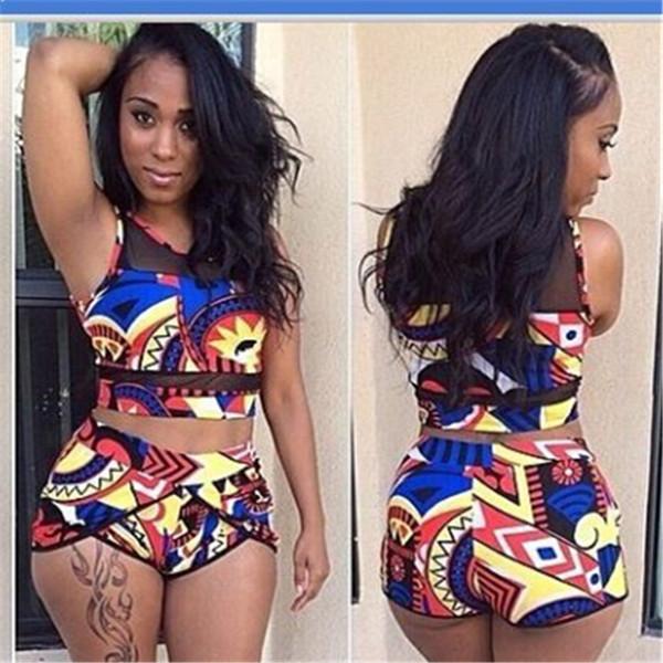2018 Women High Waist Neck Mesh Black Bikini Swimsuits 3XL L Plus Size Swim Wear Bathing Suit African Print Two 2 Piece Swimwear