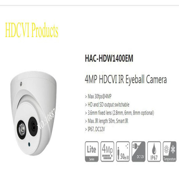 Dahua 4MP HAC-HDW1400EM 3.6mm lens IR 50M HDCVI Eyeball Camera English Version