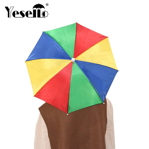 Yesello Chic Umbrella Hat Sun Shade Waterproof Outdoor Camping Hiking Fishing Festivals Parasol Foldable Sports Caps