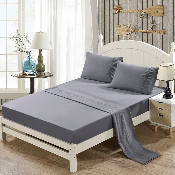 Grinding Embroidery Bedding Set Soft Gray Fitted Sheet + Flat Sheet + Pillowcase Sets Queen 4-Piece Bedclothes