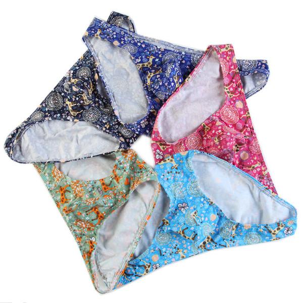5Pcs/Pack Men's Printing Briefs Panties Wholesale Sexy Mens Underwear Bulge Pouch Briefs Underpants Breathable Cotton Knickers