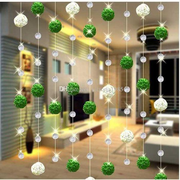 1 M Sepak Takraw Bead cristal de cristal cortina sala de estar dormitorio ventana de la puerta decoración de la boda dormitorio cortinas para sala de estar