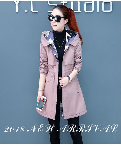 Maglietta invernale da donna con cappuccio in cotone 2018 nuova di mezza lunghezza con vita extra spessa e vestibilità slim in cotone 90105