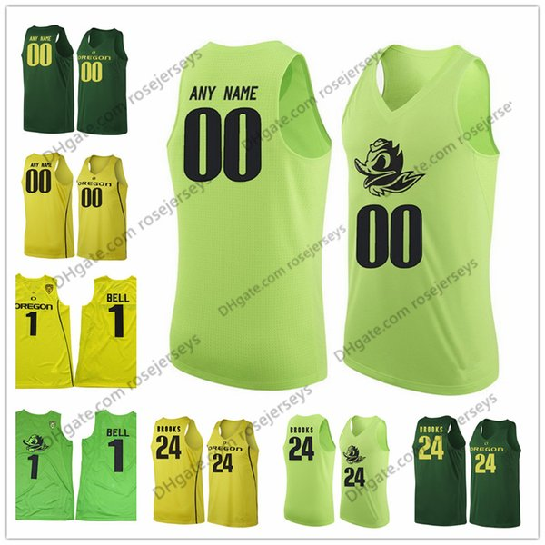 NCAA Oregon Ducks College Basketball #0 Will Richardson 2 Louis King 5 Miles Norris 25 Luke Osborn 33 Francis Okoro Green Yellow Jerseys