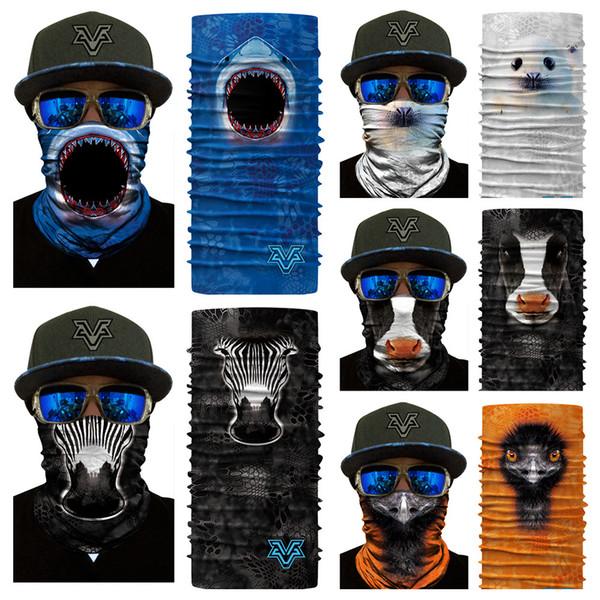 3D Animal Magic Kopftuch Hals UV-Schutz Shark Zebra Tiger Gorilla Kopftuch Outdoor-Aktivitäten 10 Styles Free DHL G706F