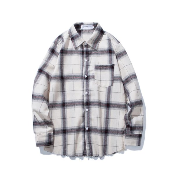 Casual Youthful Turn Down Collar Long Sleeve Lattice Loose Men Shirt 2018 Autumn Winter Classical Worn-out Male Camisa S-3XL